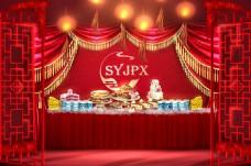中式红色隔断层次甜品区婚礼效果图