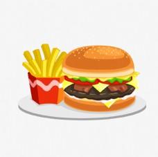 手绘汉堡薯条