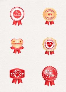 红色金色婚礼情人节徽章标签设计