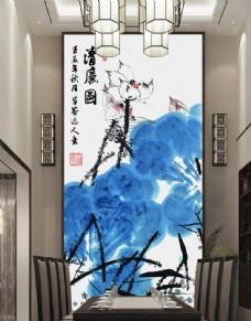 新中式手绘水墨荷花玄关