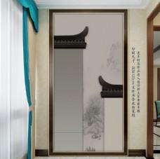 新中式水墨徽派建筑玄关背景墙