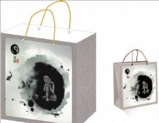水墨中国风手提袋 平面展开图