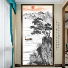 中式意境水墨玄关背景墙
