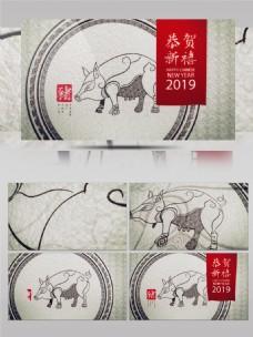 中国风猫边绘画猪年恭贺新禧新AE模板