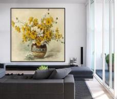 欧式手绘花卉花瓶单幅装饰画