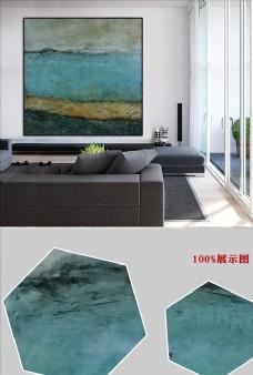 新中式蓝色海洋抽象客厅无框画
